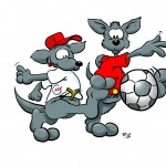 Werbecomic Känguru Fussball